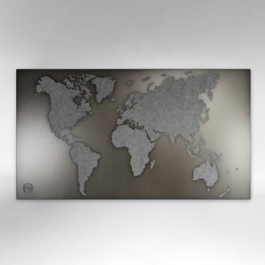 Weltkarte Filz grau