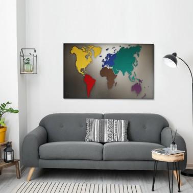 Weltkarte Filz bunt